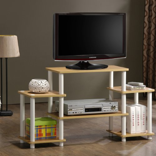 Furinno 11257BE/WH Turn-N-Tube No Tools Entertainment TV Stands, Beech/White Beech Entertainment Center