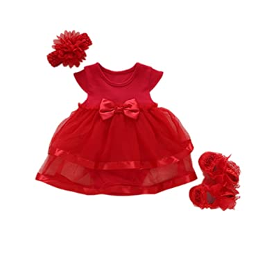 01b3282ea4834 Ocamo Baby Girl's Soft Lace Dress with Headband and Shoes Set (Red, 0-3  Months)
