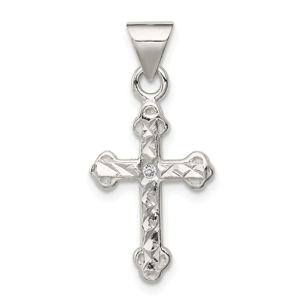 13mm x 22mm Jewel Tie 925 Sterling Silver Cross /& CZ Cubic Zirconia Pendant