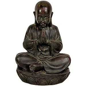 """Oriental Furniture 16"""" Sitting Japanese Zen Monk Statue"""
