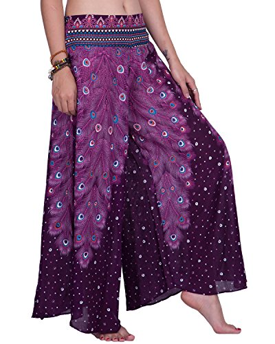 Indian Outfit (Rita & Risa Women's Bohemian Peacock High Waist Long Palazzo Pants (Medium, Purple))