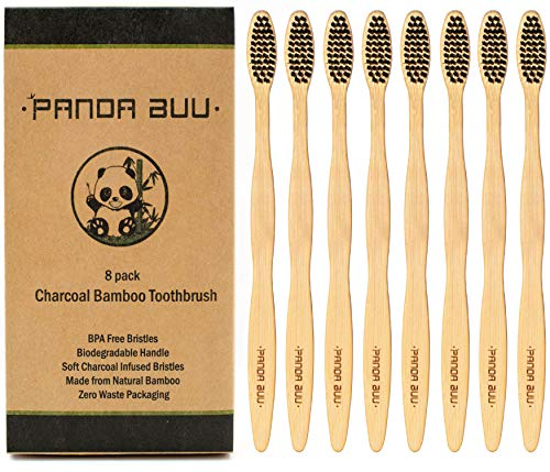 Natural Bamboo Toothbrush with Soft-Medium BPA Free Charcoal Infused Bristles | 8 Pack | Eco-Friendly Toothbrush and Biodegradable Handle