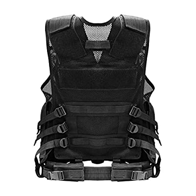 Solomone Cavalli Black Tactical Molle Vest Airsoft Paintball Vest Assault Swat Vest Adjustable Breathable Multi-functional Vest for Outdoor Hunting,Fishing,CS,Combat Training