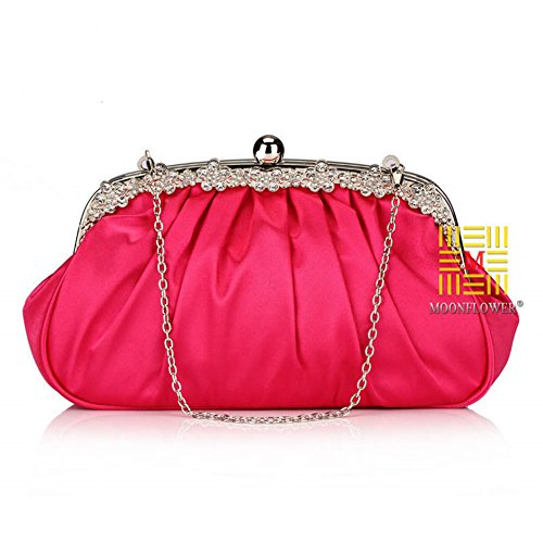 Bridal Clutches Women Rose Evening Wedding Pleated Handbags For LIZHIGU Bridesmaid Clutch Satin Purses 8w6qEZA