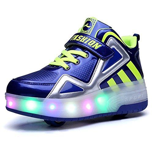 zgshnfgk Children's LED Light Roller Skates Single-Wheeled Shining Shoes Children Girls Boys (Stretcher Wheeled)