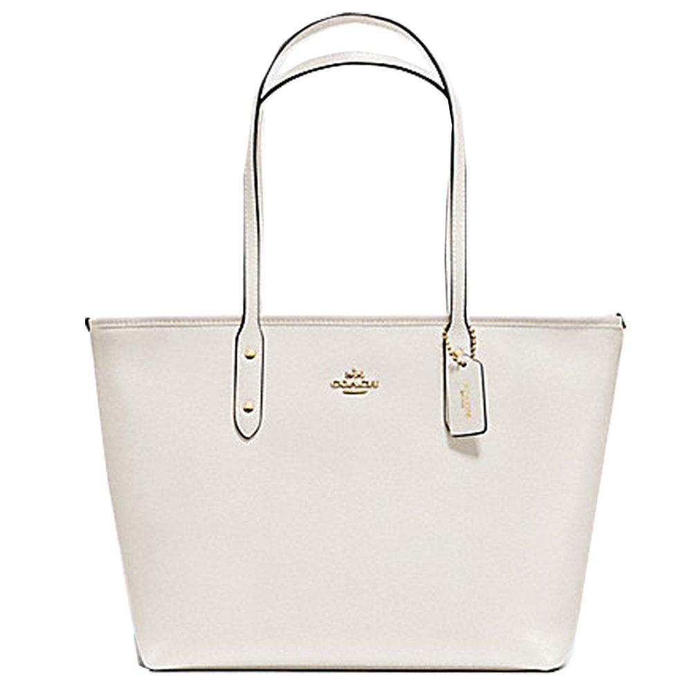 Coach F58846 Crossgrain City Zip Top Tote Chalk Leather Handbag