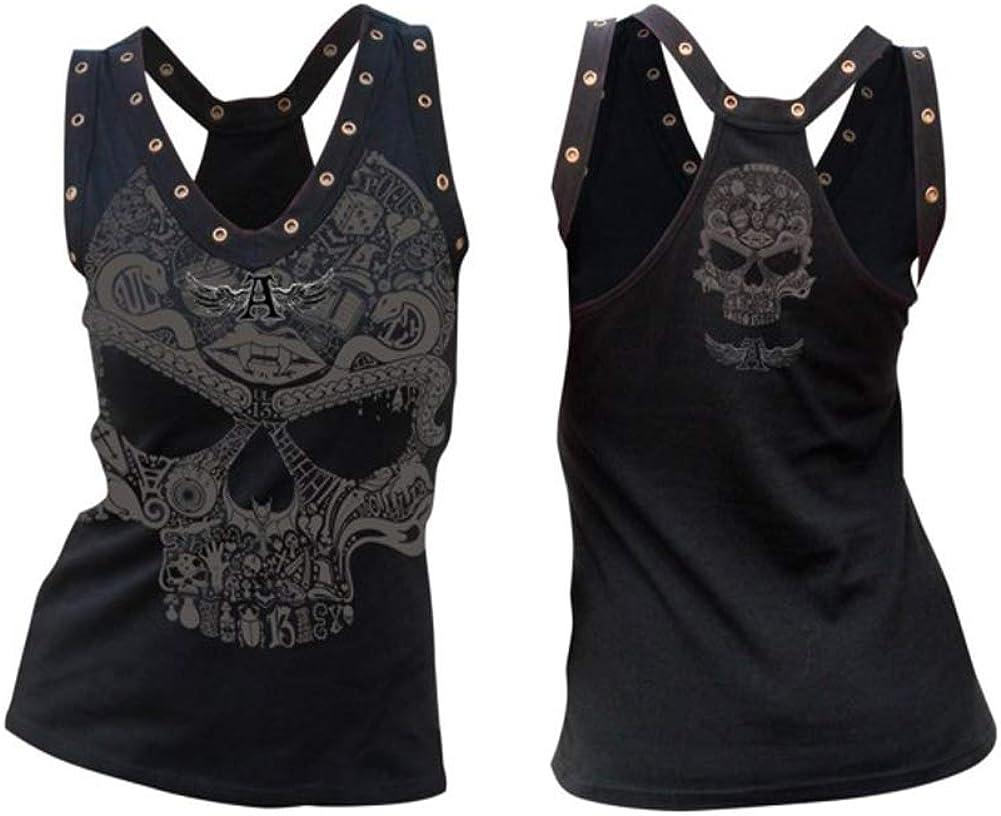 G/ótica Sin Mangas dise/ño de Calaveras Tanque Superior cors/é Disfraz de Tank Tops Chaleco Chaleco Morbuy Mujeres Camiseta de Tirantes