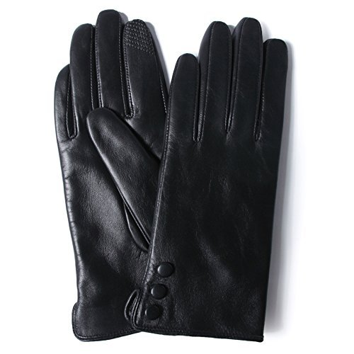 Women's Winter Touchscreen Italian Genuine Sheepskin Black Leather Gloves for Texting Driving Polyester Lined by GSG(Medium)