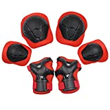 [KuYou] Sports Protective Gear Safety Pad Safeguard (Knee Elbow Wrist) Support Pad Set Equipment for Kids Youth Roller Bicycle BMX Bike Skateboard Hoverboard Protector Guards Pads(Red)