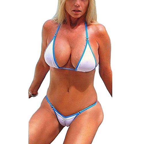 SHERRYLO Scrunch Butt String Bikini (White, L)