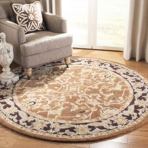 Safavieh Anatolia Collection AN545A Handmade Traditional Oriental Brown and Plum Wool Round Area Rug (4' Diameter)