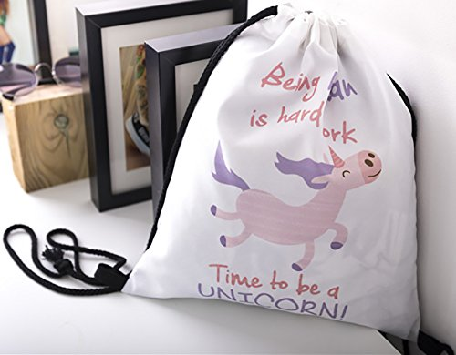 Gym Unicorn Ababalaya Rucksack Backpack 3D Drawstring Bags Smile Shoulder Bag Print FnxvfWF