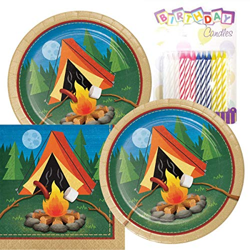 Camp Out Camping Theme Plates and Napkins Serves 16 With Birthday Candles (Camp Themed Paper Plates)