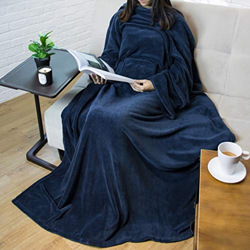 PAVILIA Premium Fleece Blanket with Sleeves for Adult
