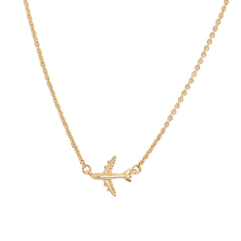 DOZOGU Delicate Airplane Pendant Necklace Choker for Women Fashion Jewelry Brass Chain Brass Necklace Party Gift