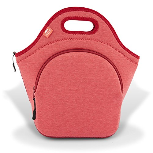 Nordic By Nature Large Neoprene Lunch Bag for Women & Lunch tote for Kids Insulated Lunch bag Reusable Washable Thick Neoprene & Soft Cotton Feel, Premium Stitching, Outside Pocket, (L) Special Red
