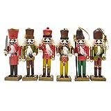 "Anlydia 5pcs or 6pcs Wooden Nutcracker Ornament Set Handpainted Assorted Set 5"" Tall Christmas Home Ornament Set"