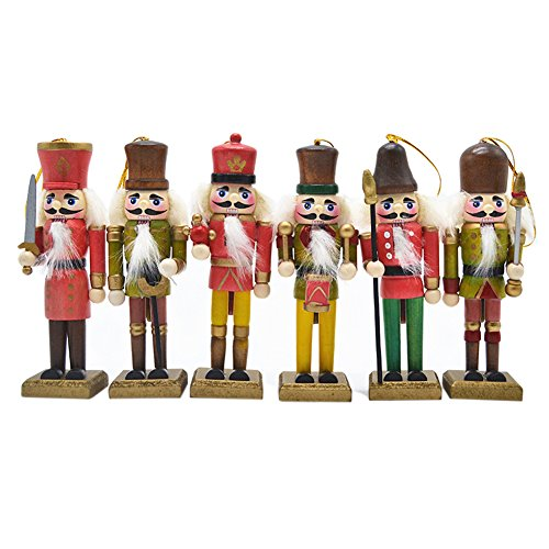 "Anlydia 5pcs or 6pcs Wooden Nutcracker Ornament Set Handpainted Assorted Set Christmas Gift 5"" Tall Christmas Home Ornament (Nutcracker Gift)"