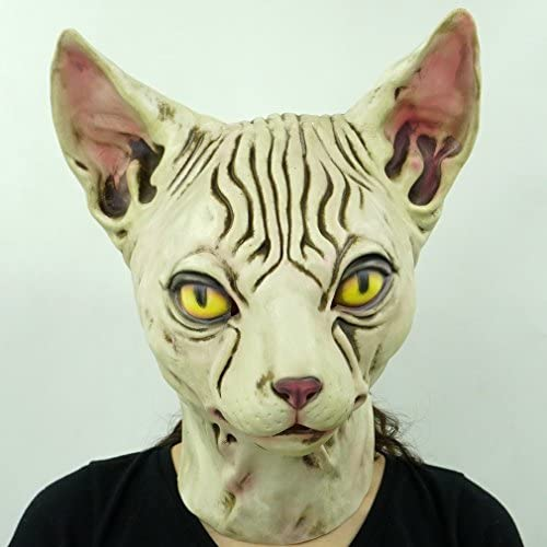Hairless cat Latex Mask Funny Animal Hood Halloween Costume Party Decorations 20