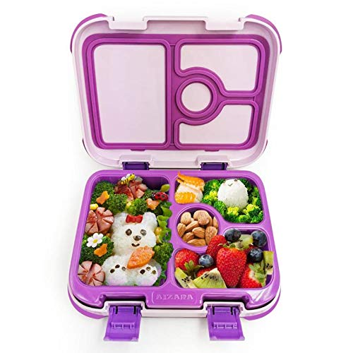 Bento Box for Kids,Aizara Lunch Boxes for Kids,Leak Proof 4-Compartment Lunch Containers for Kids,On-the-go Meal and Snack Packing Recommended for Ages 2-8(Purple)