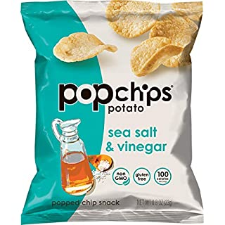 Popchips Potato Chips, Sea Salt and Vinegar, 0.8 Ounce (Pack of 24)