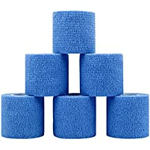 "Waterproof Self Adherent Cohesive Bandages Rolls - RJOAM Elastic Non Woven Adhesive Wrap Tape FDA approved,Blue,2"" x 5 Yards, 6 Rolls"