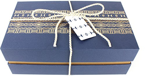 Fancy Gift Box - Wrapping Kit | Medium 10.5 x 6.5 x 3.25 inches | Beautiful Tribal Pattern (Midnight Blue) by Manhattan Paper Company