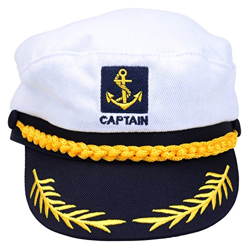 Adult Captains Hat Yacht Cap Standard, Blue and White (Adult Sea Hat Captain)
