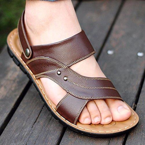 Uomini sandali Il nuovo vera pelle sandali Uomini Tempo libero scarpa Spiaggia scarpa Uomini sandali estate Uomini scarpa tendenza ,Marrone 1,US=8.5,UK=8,EU=42,CN=43