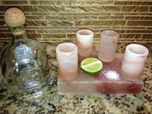 Himalayan Salt Tequila Shot Glass Set With Salt Plate