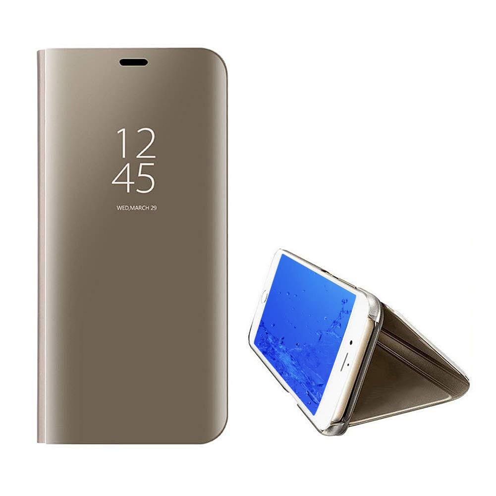 Yobby Luxe Coque Miroir pour Samsung Galaxy J6 Plus, Coque Samsung Galaxy J6 Prime Placage La Technologie Intelligent Vue Fenêtre Supporter PC Flip Cover Svelte Protecteur Housse Etui-Or Rose