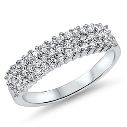 5mm Half Eternity Band Ring 925 Sterling Silver 3 Row Round Cubic Zirconia Wedding Engagement 5-10 ()