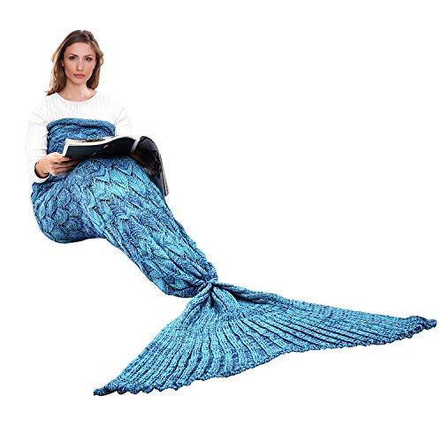 Adult and Child New Mermaid Knitting Fish Blanket (Red) - 7