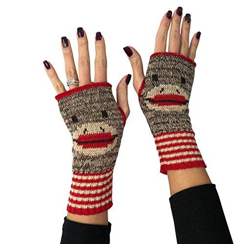 Green 3 Women's Sock Monkey Handwarmers