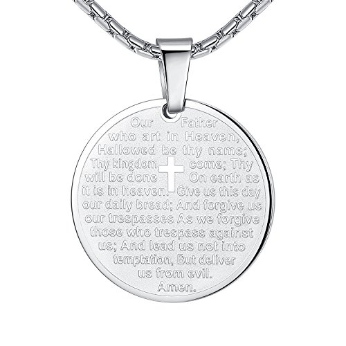 (Stainless Steel Lord's Prayer and Cross Medallion Pendant Necklace, Silver-Tone 21