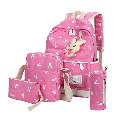 Handtasche Damen Set, LHWY 4 Sätze Frauen Mädchen Kaninchen Tiere Reise Rucksack Schultasche Schultertasche Handtasche Schön Fashion Tasche Schulranzen Hot Pink