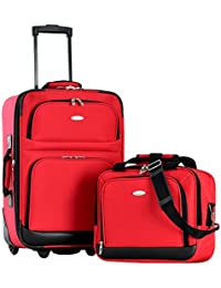 Let's Travel 2 Piece Carry-On Luggage Set, Red