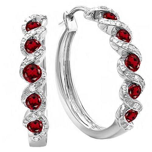 (Dazzlingrock Collection 0.86 Carat (ctw) White Round Garnet & White Diamond Hoop Earrings, Sterling Silver)