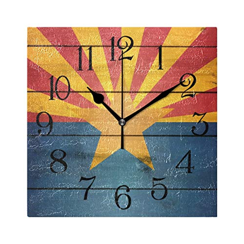 Arizona Flag Wood Wooden Silent Non Ticking Wall Clock,Decorative Square 7.87
