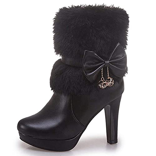 218296549cd DecoStain Women s Faux Fur Bowtie Glass Diamond Ornament High Heel Boots