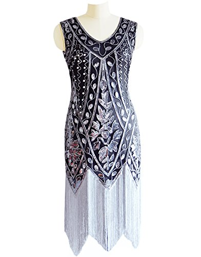 Gray Evening Miuco Fringed Gatsby 1920s Women's Sequined Dress Beaded Flapper waUvqxz
