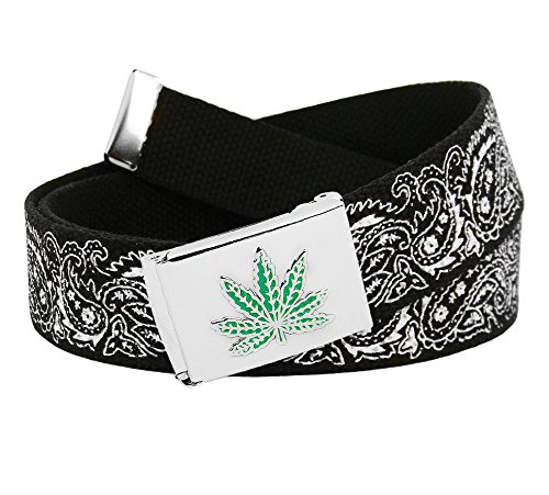 Men's Silver Flip Top Embossed Weed Leaf Belt Buckle with Printed Canvas Web Belt Large Black Bandana Print