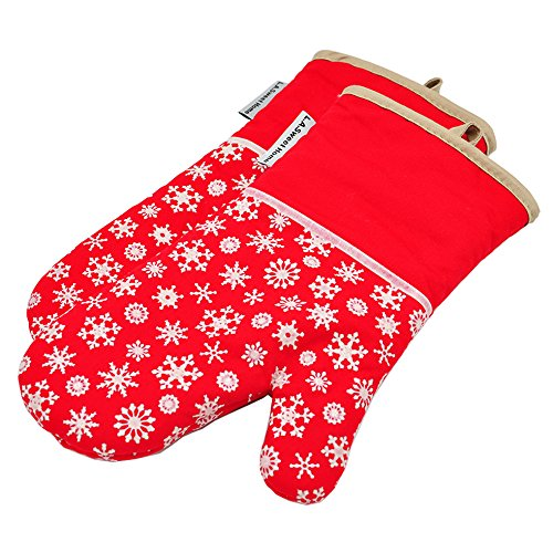 Silicone Oven Mitts Xmas Snowflake Heat Resistant Potholders Cooking Gloves Non-Slip Barbecue Gloves Pot Holders 1 Pair by LA Sweet Home (Red)