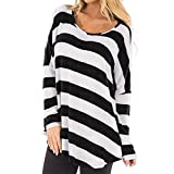 Clearance!Women's Long Sleeve Strip Blouse Fashion Casual Loose Leisure T Shirts