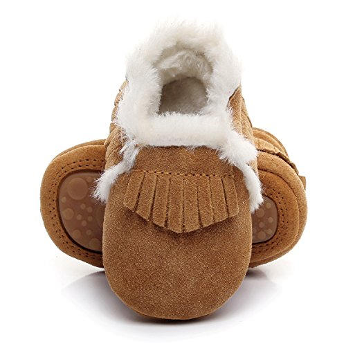 Slip Moccasins (HONGTEYA Winter Suede Fleece Lined Rubber Soles Non Slip Warm Baby Boots Girls Boys Moccasins With Fur Hard Sole Baby Shoes (6-12m/4.92