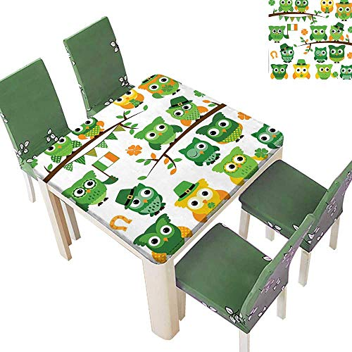 Printsonne Spillproof Fabric Tablecloth Day Irish Owls with Leprechaun Hats on Trees Shamrock Leaves Horseshoe Green Kitchen Washable 23 x 23 Inch (Elastic Edge) ()