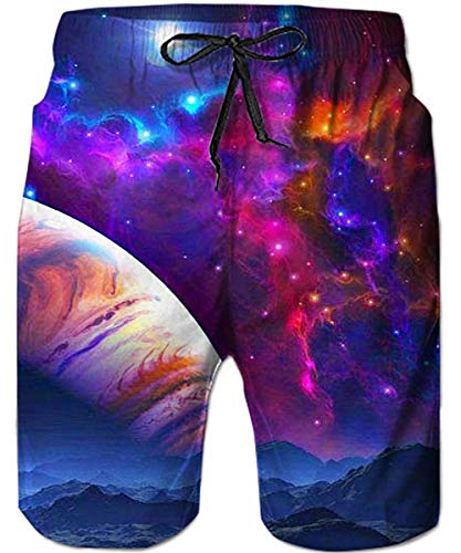 (Loveternal Mens Galaxy Space Swim Trunks Purple Youth Board Shorts Adjustable Elastic Waistband Man Surfers Bebula Beach Short with Mesh Lining Vintage Swimsuit S)