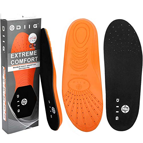 diig Shoe Inserts for Men, Memory Foam Shoe Insoles Relieve Flat Feet & Heel Pain Anti-Fatigue Work Boot/Hiking Shoe Insoles(X-Large)