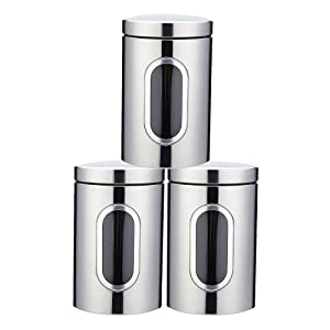 JENNIMER 3PC Kitchen Canister Sugar Food Tea Coffee Candy Storage Jars Stainless Steel with Transparent Windows (Silver)