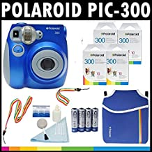 Polaroid PIC-300 Instant Film Analog Camera (Blue) with (4) Polaroid 300 Instant Film Packs of 10 + Polaroid Neoprene Pouch + Polaroid Cleaning Kit + Neck & Wrist Strap + (4) AA Batteries & Charger